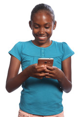 Young African American school girl sending text