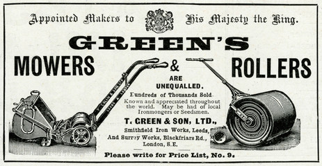 Advertisement for Greens Mowers And Rollers 1902