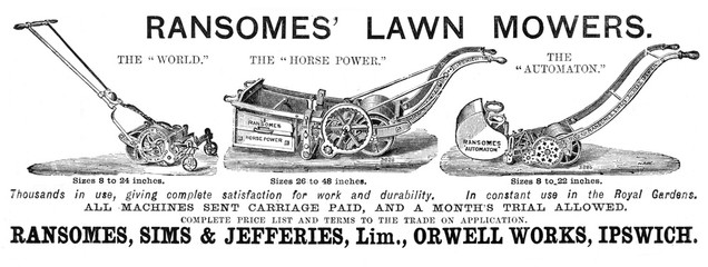 Advertisement for RAnsomes LAwn Mowers 1883