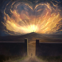 Digital painting of love surrounding cross