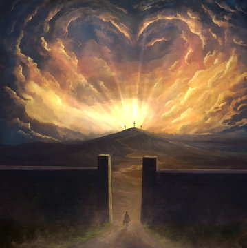 Digital painting of love surrounding cross