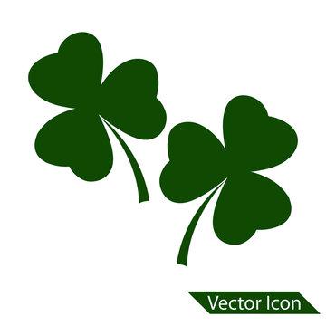 3 Leaf clover sign icon. Saint patrick symbol. Ecology concept. Flat design, Web site page and mobile app design vector element. vector icon