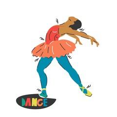 Handdrawn vector illustration of a dancer-ballerina. Sketch design.