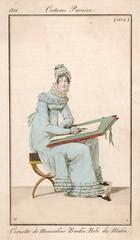 Woman Wearing 19th Century Morning Dress