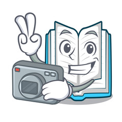 Photographer opened book in the shape mascot