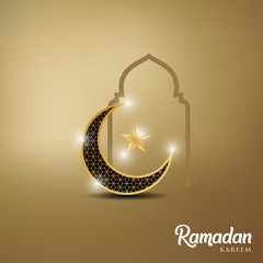Ramadan kareem background, illustration with, golden ornate crescent , star and mosque dome. EPS 10 contains transparency - vector