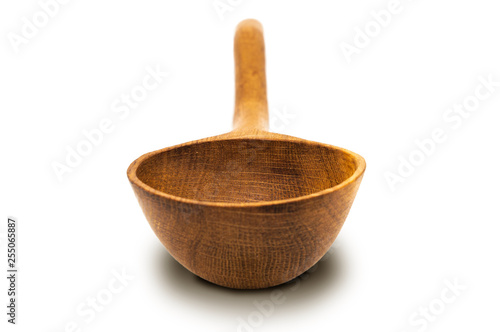 Isolate of a big (ladle) wooden spoon of oak  Closeup  Nice