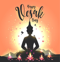 Vector illustration greeting card for Vesak day with lotus flower and buddhas silhouette.