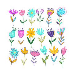 Spring Flowers Set. Hand drawn vector illustration. Isolated on white background.