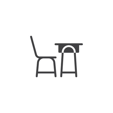 School desk and a chair vector icon. filled flat sign for mobile concept and web design. School table side view glyph icon. Symbol, logo illustration. Pixel perfect vector graphics