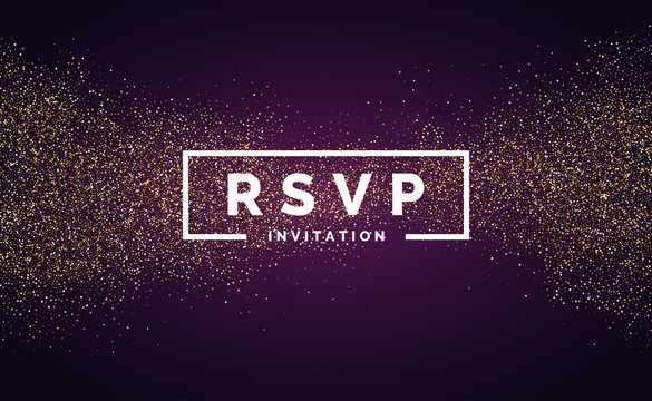 RSVP. Gold glitter. Invitation for the event.