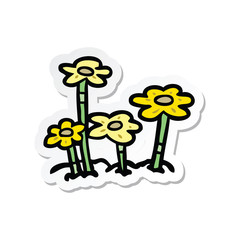 sticker of a cartoon flowers