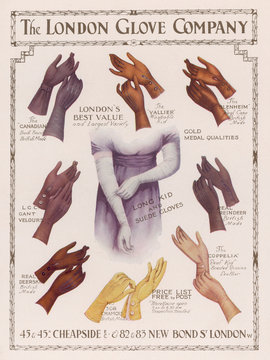 Advertisementisement for the London Glove CompAny 1912