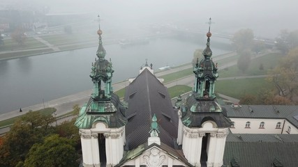 Aerial View of Krakow, Wawel Royal Castle,