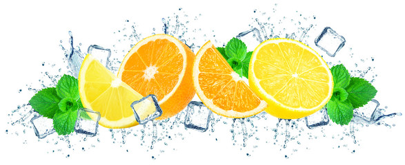 oranges and lemon with water splash and ice cubes isolated on white