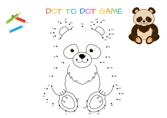 Funny little Panda. Coloring book. Educational game for children. Cartoon vector illustration