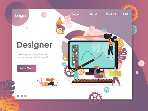 Designer vector website landing page design template