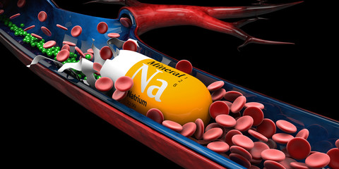 3d Illustration of Mineral Natrium Capsule dissolves in the vien