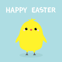 Happy Easter. Chicken bird. Cute cartoon funny kawaii baby character. Greeting card. Yellow color. Flat design. Blue background.