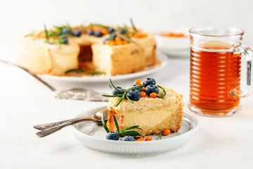 Homemade cottage cheese pie