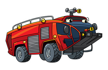 Fire truck or fire engine with eyes