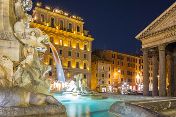 Fountain at the Pantheon temple in Rome at night, Italy