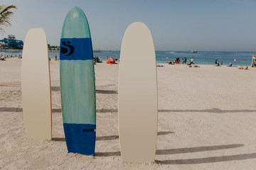 surfboards on the beach place