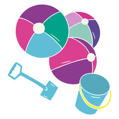 cartoon doodle beach balls with a bucket and spade