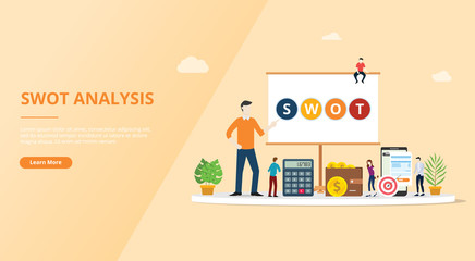 swot analysis business concept for website template design page - vector illustration