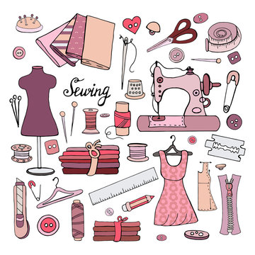 Set of different objects for sewing on a white background