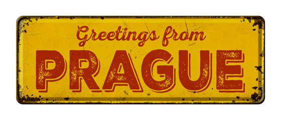 Vintage metal sign on a white background - Greetings from Prague