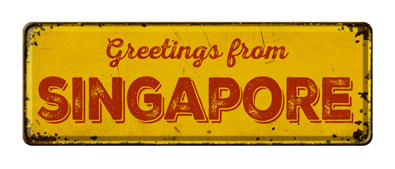 Vintage metal sign on a white background - Greetings from Singapore