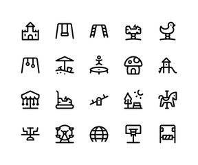 Simple Set of Playground Related Vector Line Icons. Contains such Icons castle, swing, trampoline, slide, seesaw and More. pixel perfect vector icons based on 32px grid. Editable Strokes