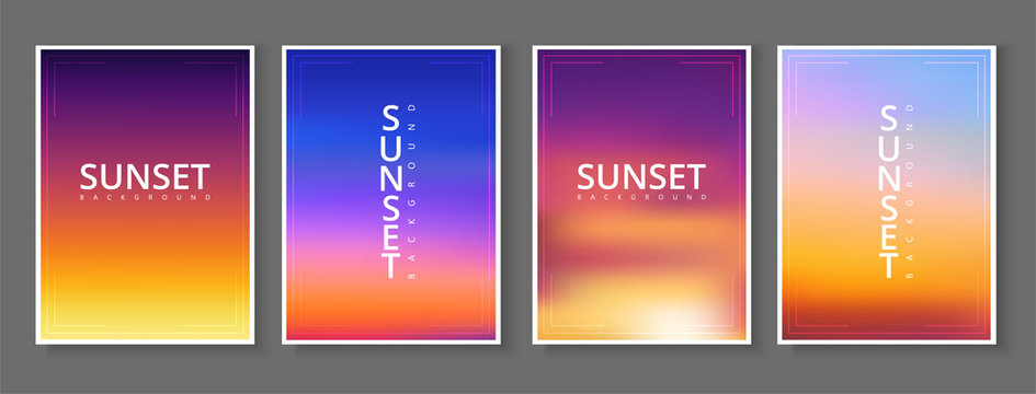 Sunset - set of cards. Spectrum poster in purple and orange gradient colors.
