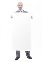 handsome businessman showing blank placard.isolated on white