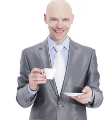 closeup.a successful businessman with a Cup of coffee.