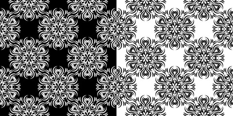 Floral seamless set of patterns. Black and white backgrounds