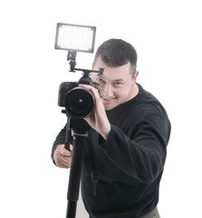 portrait of a successful photographer .isolated on white background