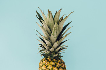 Pineapple on colorful blue background