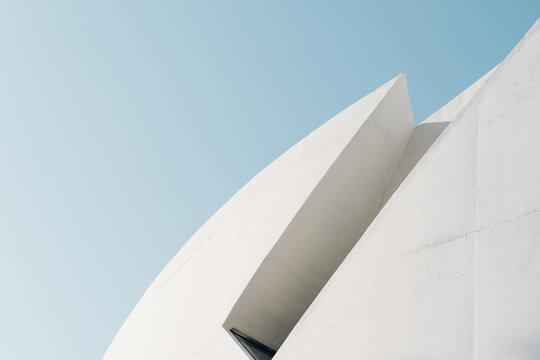 Minimalistic architecture facades blue background