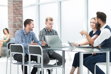 Coworkers team working new startup project at office