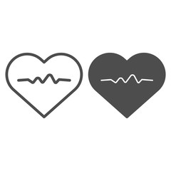 Heartbeat line and glyph icon. Cardiogram vector illustration isolated on white. Heart pulse outline style design, designed for web and app. Eps 10.