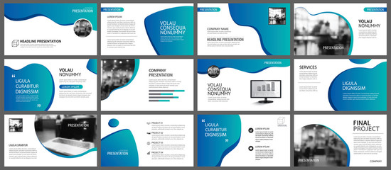Presentation and slide layout background. Design blue and green gradient template. Use for business annual report, flyer, marketing, leaflet, advertising, brochure, modern style. Wall mural