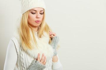 Woman wearing warm winter clothing