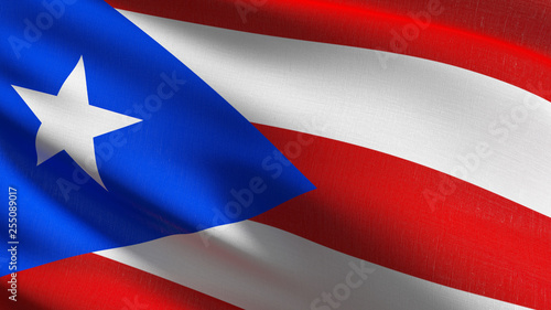 Puerto Rico national flag blowing in the wind isolated