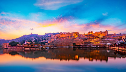 Amber Fort and Maota Lake, Jaipur, Rajasthan, India