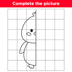 Complete the picture cute kawaii chick. Copy the picture. Educational game for children. Coloring book. Vector illustration.