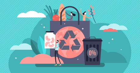 Zero waste vector illustration. Flat tiny reduce packaging persons concept.