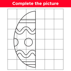 Complete the picture Easter egg. Copy the picture. Educational game for children. Coloring book. Vector illustration.
