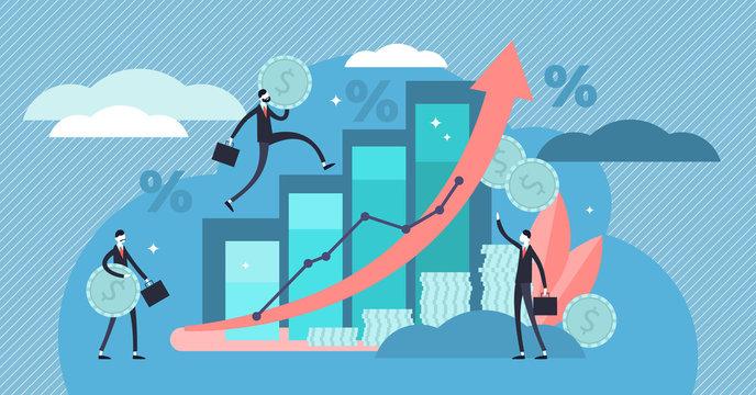 Financial forecast vector illustration. Flat tiny economical person concept